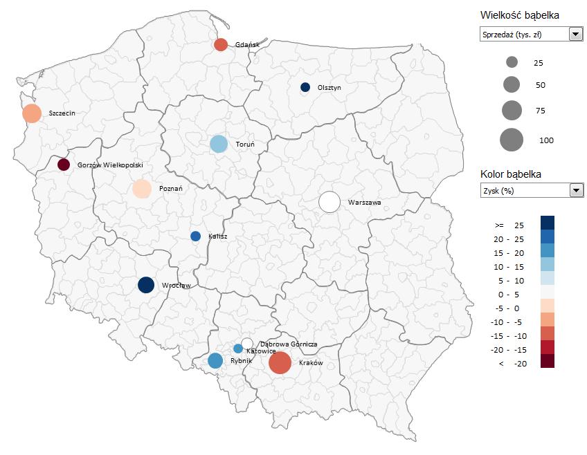 Mapa Polski Excel TOP 4 v4