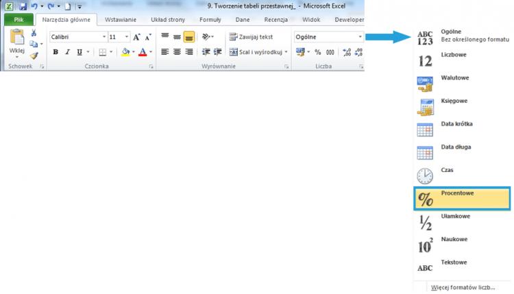 Tworzenie raportu tabeli przestawnej wexcelu2_5