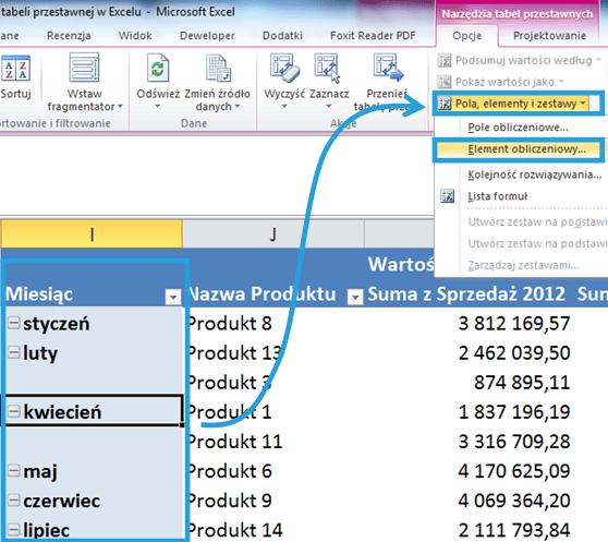 Tworzenie raportu tabeli przestawnej wexcelu2_9