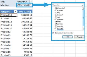 Tworzenie raportu tabeli przestawnej wexcelu9