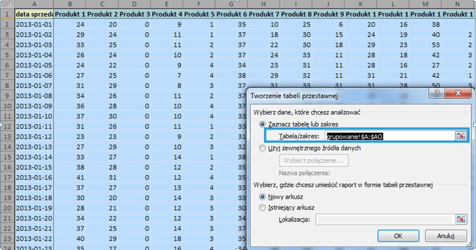 Grupowanie tabela przestawna 1