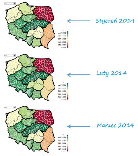 Mapa Polski Excel – Jak przedstawić dane dla podziału geograficznego zakolejne okresy 7