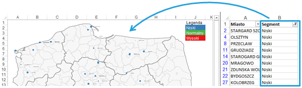 Mapa Polski Excel - Jak dynamicznie filtrować punkty namapie 5