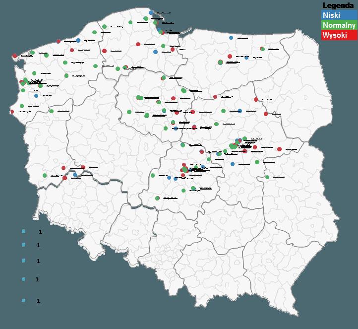 Mapa Polski Excel - Jak podzielić punkty pogeokodowaniu nakategorie ioznaczyć je innym kolorem 5