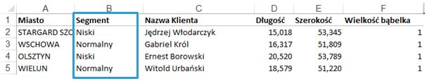 Mapa Polski Excel - Jak podzielić punkty pogeokodowaniu nakategorie ioznaczyć je innym kolorem