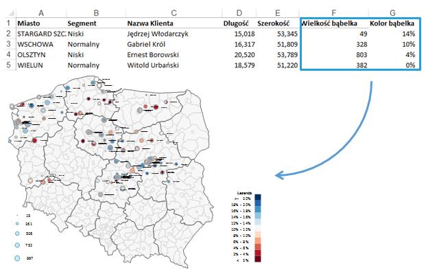 Mapa Polski Excel - Jak przedstawić namapie bazę adresów pogeokodowaniu 6