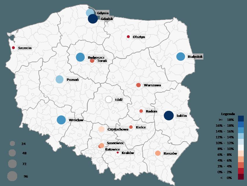 Mapa Polski Excel - Jak przedstawić namapie oddziałów jednocześnie dwie zmienne - sprzedaż izysk 4