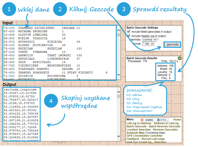 Mapa Polski Excel - Jak wykonać geokodowanie bazy klientów (punktów, miejscowości, adresów) 2