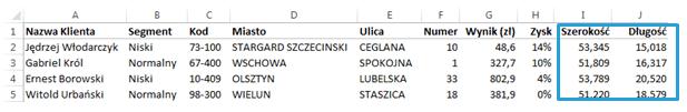 Mapa Polski Excel - Jak wykonać geokodowanie bazy klientów (punktów, miejscowości, adresów) 5
