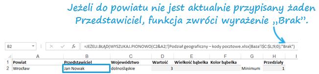 Mapa Polski Excel - Jak zmodyfikować komunikat, aby pokazał nazwę Regionu lub nazwisko Przedstawiciela 2