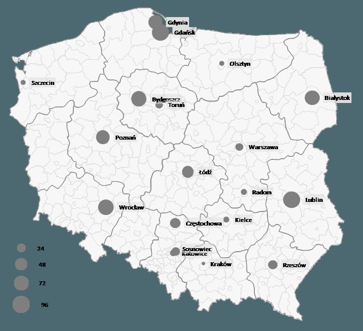 Mapa Polski Excel - Jak zwizualizować dane pomiastach (oddziałach) zapomocą wykresu bąbelkowego 4