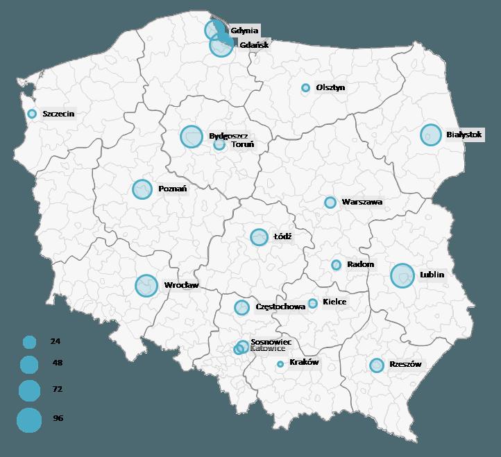 Mapa Polski Excel - Jak zwizualizować dane pomiastach (oddziałach) zapomocą wykresu bąbelkowego 6