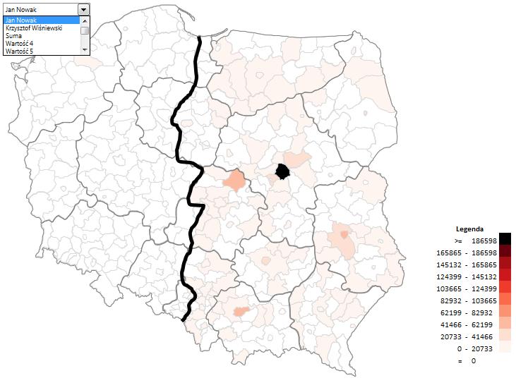 Mapa Polski Excel - Jak zwizualizować dane wpodziale administracyjnym nabazie kodów pocztowych 8