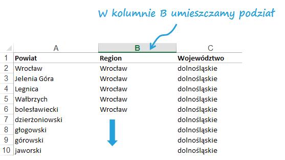 Mapa Polski Excel - tworzenie podziału geograficznego 1