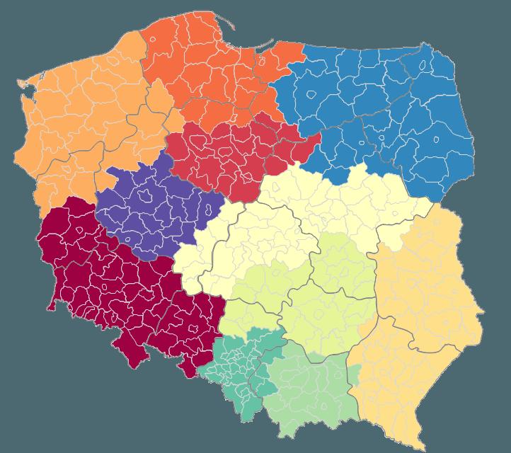 Mapa Polski Excel - tworzenie podziału geograficznego 8