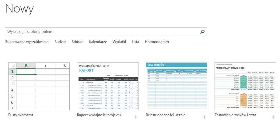 Co nowego w programie Excel 2013 - Gotowe szablony