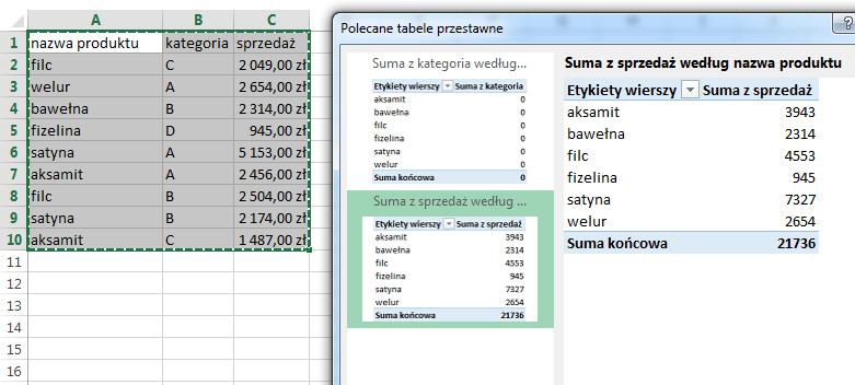 Co nowego w programie Excel 2013 - Tabele przestawne w programie Excel 2013