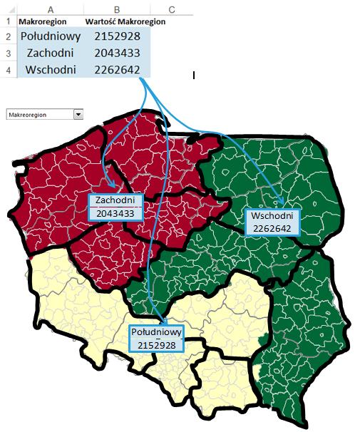 Mapa Polski Excel – Jak pokazać namapie dynamiczne etykiety znazwami iliczbami 4