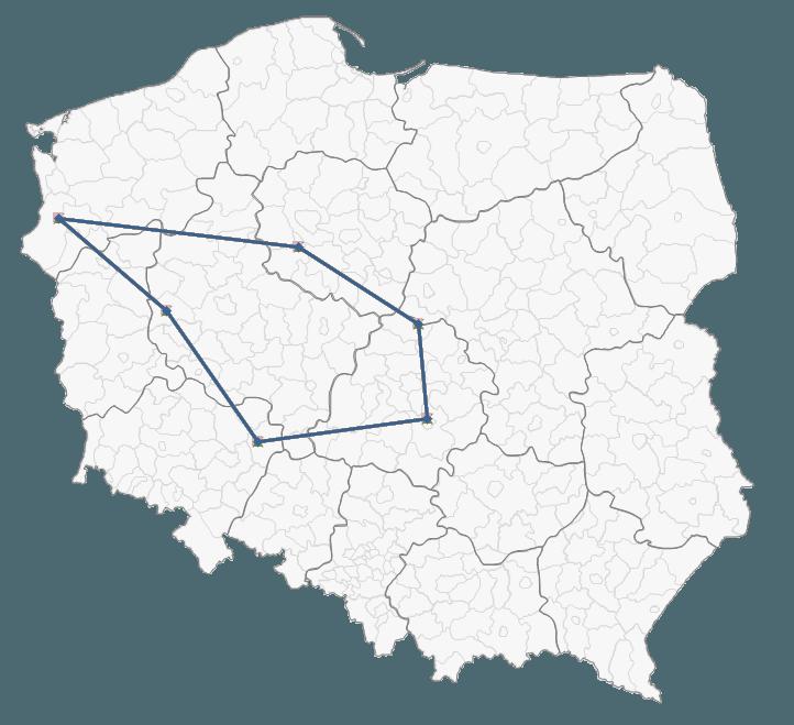 Mapa Polski Excel - Jak zaznaczyć na mapie kolejność odwiedzania punktów lub obszar 4