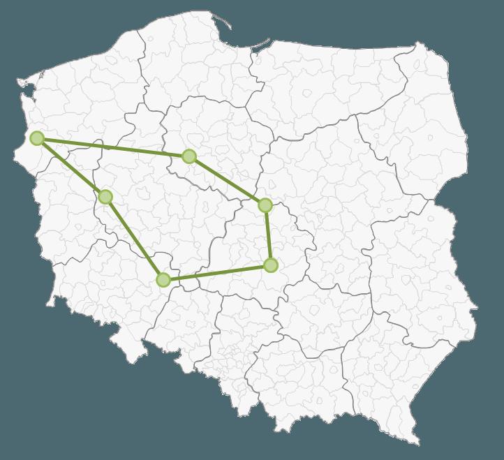 Mapa Polski Excel - Jak zaznaczyć na mapie kolejność odwiedzania punktów lub obszar 5