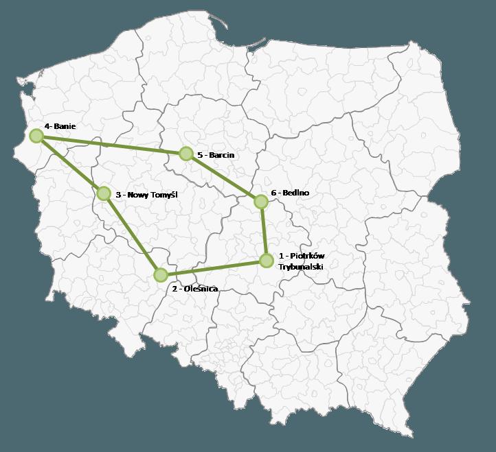 Mapa Polski Excel - Jak zaznaczyć na mapie kolejność odwiedzania punktów lub obszar 6