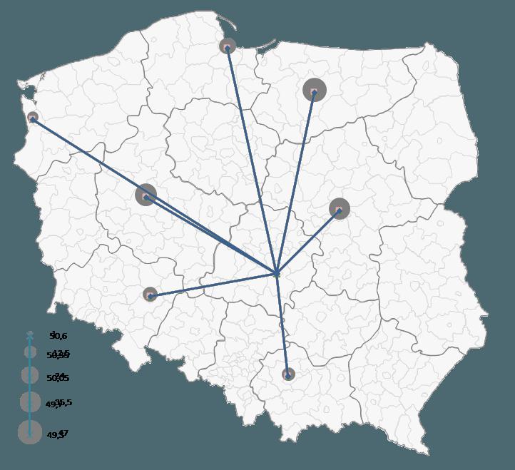 Mapa Polski Excel - Jak zwizualizować namapie przepływ towarów 3