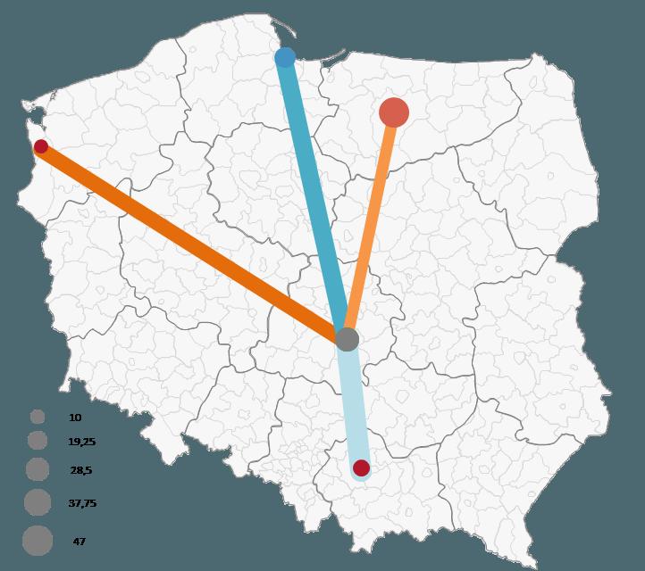 Mapa Polski Excel - Jak zwizualizować namapie przepływ towarów 6