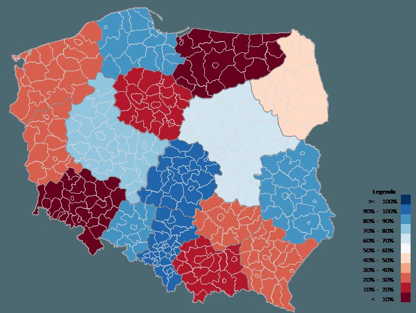 Mapa Polski Excel – Jak zwizualizować dane dla województw namapie powiatów 3