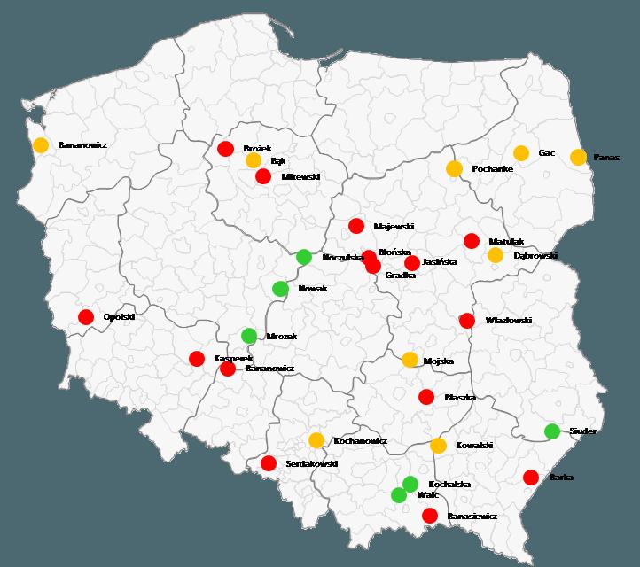 Mapa Polski Excel - Jak wstawić sygnalizację uliczną (czerwony, żółty, zielony) nawykresie bąbelkowym dla pracowników sprzedaży 6