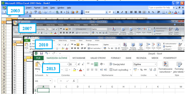 Współczynnik Dane-Atrament wprogramie Excel 2003, 2007, 2010 i2013 - Interfejs