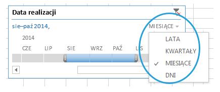 Oś czasu- nowość w Excel 2013 - filtr
