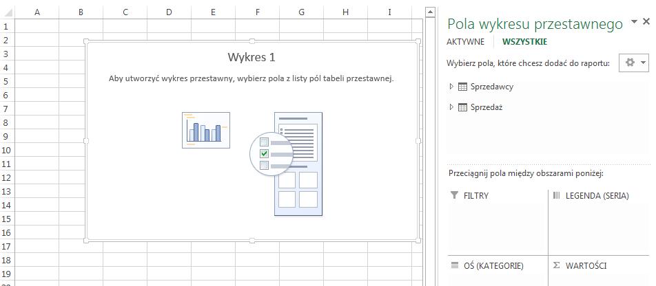 Wykres przestawny Excel 2013 beztabeli przestawnej powstawieniu