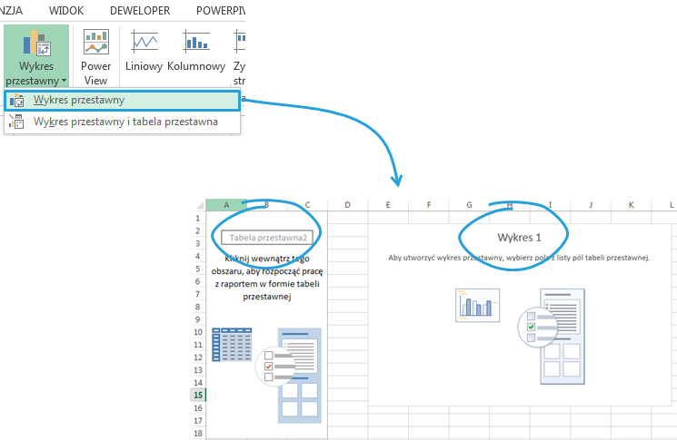 Wykres przestawny Excel 2013 beztabeli przestawnej wstawianie