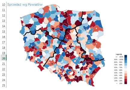 Dashboard menedżerski Excel - Mapa Polski Excel Powiaty