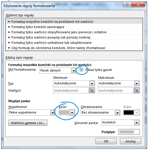 Dashboard menedżerski Excel pasek danych 5