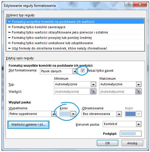 Dashboard menedżerski Excel pasek danych 7