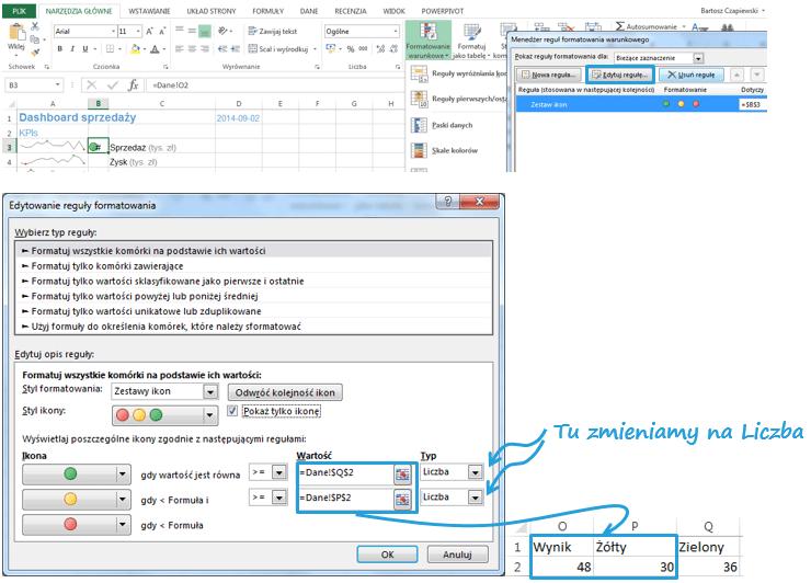 Dashboard menedżerski Excel sygnalizacja uliczna 2
