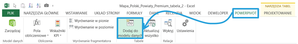 Jak dodac tabele Excel domodelu danych PowerPivot