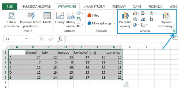 Jak zachowuje się wykres punktowy w Excel 2013 - wstawianie wykresu