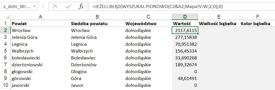 laczenie mapy polski excel z tabela przestawna