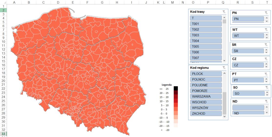 tabela przestawna i kody pocztowe na raporcie z mapa Excel dashboard