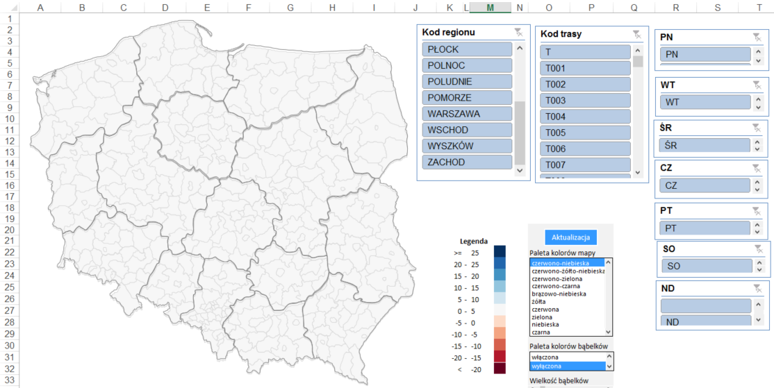 tabela przestawna i kody pocztowe na raporcie z mapa Excel fragmentator