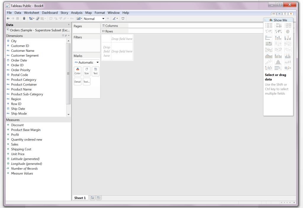 Interfejs użytkownika Tableau Public_początkowy