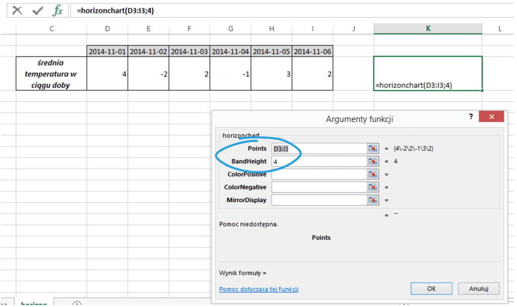 Sparklines for Excel - Wykres horyzontalny 2