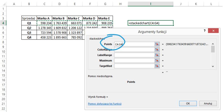 Sparklines for Excel Pareto, kaskadowy, kolumnowy 18