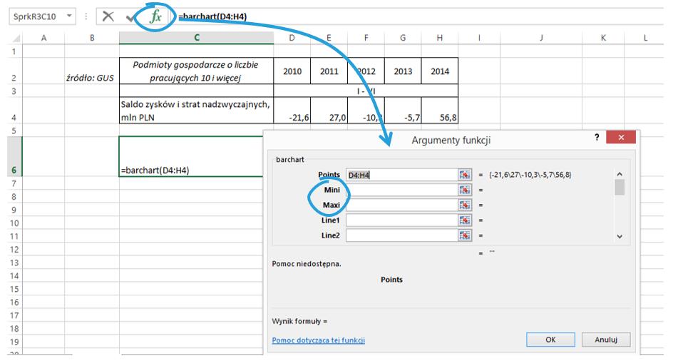 Sparklines for Excel - wykresy porównawcze 3