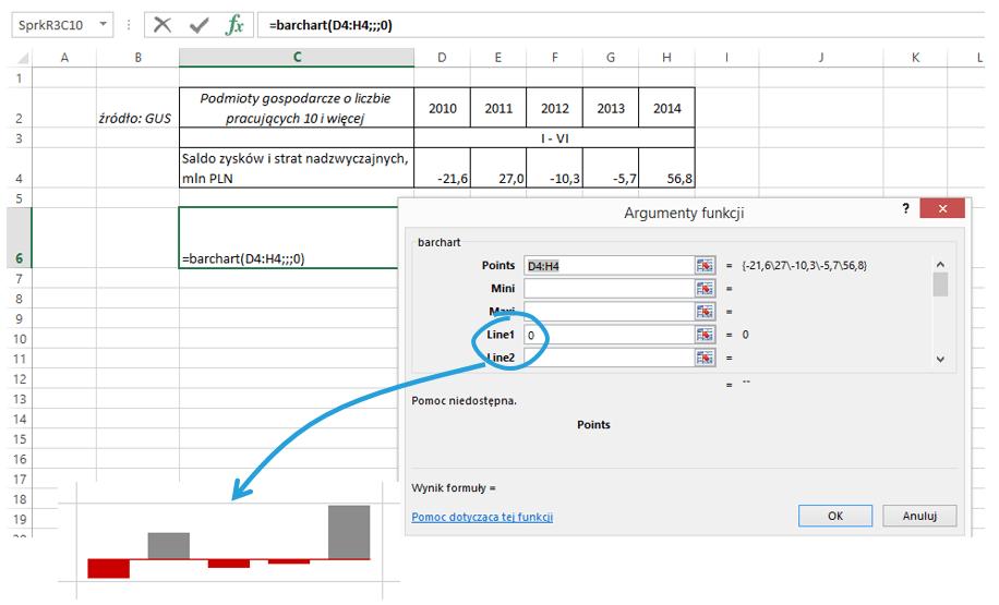 Sparklines for Excel - wykresy porównawcze 4
