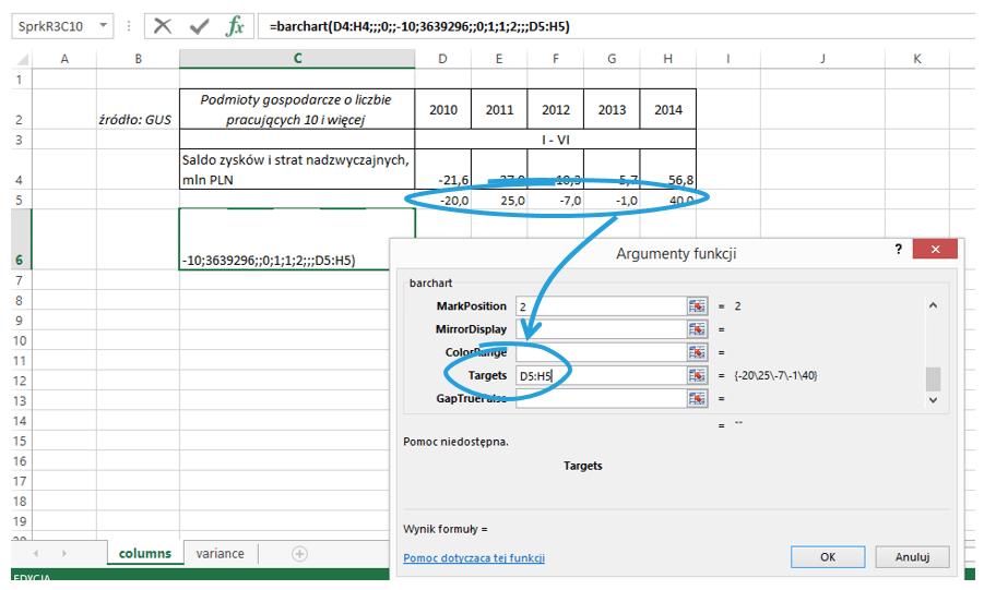 Sparklines for Excel - wykresy porównawcze 9