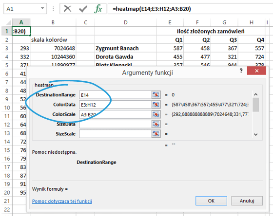 Sparklines for Excel - mapa cieplna 5