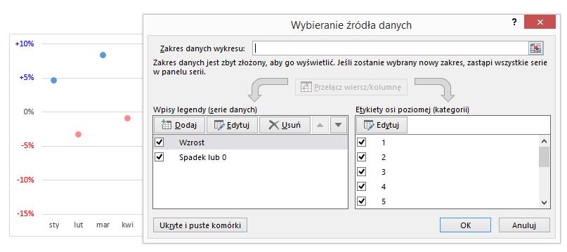 Autokolorowanie wykresu kolumnowego ikropkowego Excel 10